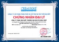 Chứng nhận đại lý chính thức các sản phẩm của công ty Thời Đại Mới đang phân phối